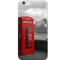 Traditional Red Telephone Box on Thames Embankment iPhone Case/Skin