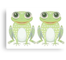 Happy Twin Frogs Canvas Print