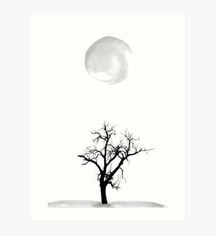 Tree and Moon Minimalist Abstract Art Silhouette Art Print