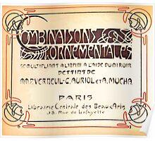 Maurice Verneuil Georges Auriol Alphonse Mucha Art Deco Nouveau Patterns Combinaisons Ornementalis 0000 Title Plate Poster