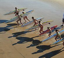 Off and Racing - Junior Surf Life Saving Club, Coffs Harbour by Geoff Stone