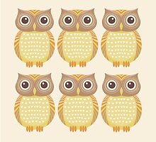 Sextuplet Owls by Jean Gregory  Evans