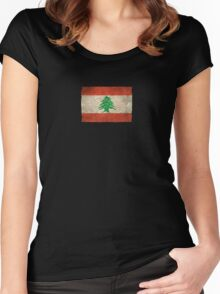 Old and Worn Distressed Vintage Flag of Lebanon Women's Fitted Scoop T-Shirt