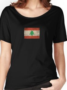 Old and Worn Distressed Vintage Flag of Lebanon Women's Relaxed Fit T-Shirt