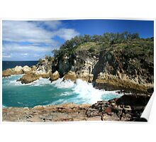 Waves against the Gorge - North Stradbroke Island Poster