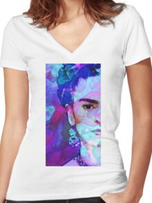 Dreaming Of Frida - Art By Sharon Cummings Women's Fitted V-Neck T-Shirt
