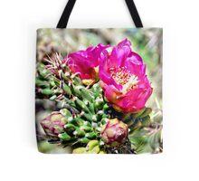 Fuscia Pink Cactus Flower Bloom Tote Bag