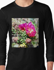Fuscia Pink Cactus Flower Bloom Long Sleeve T-Shirt