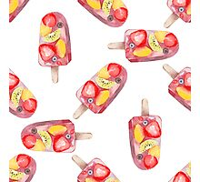 watercolor icecream popsicle seamless pattern Photographic Print