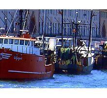 Fishing Boats in Boston Harbor Photographic Print