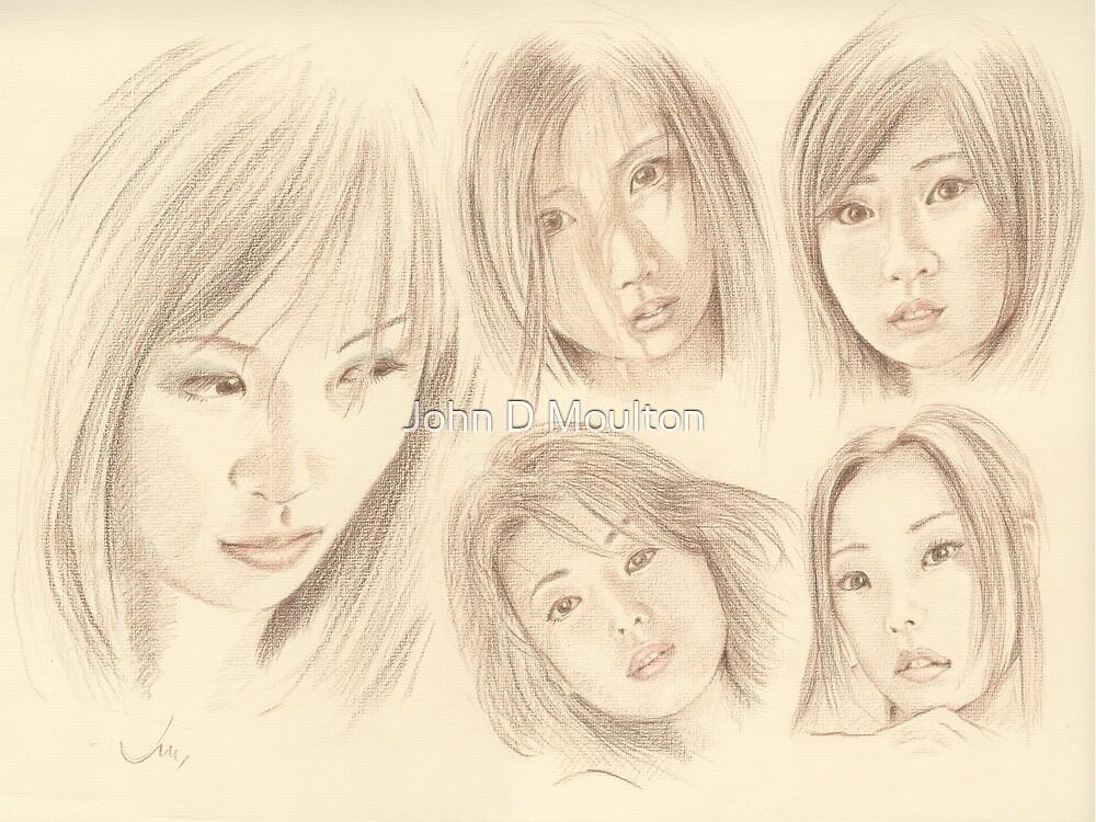 """""""Oriental Sketchbook l"""" Colour Pencil Art Work by John D Moulton"""