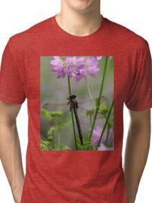 Black Dragonfly and Crown Vetch Tri-blend T-Shirt
