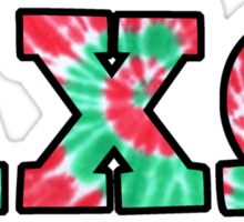 Alpha Chi Omega Red/Green Letters Sticker