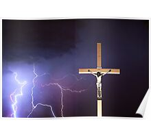 The Crucifixion of Jesus - Lightning and the Cross Poster