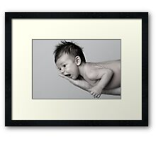 Healthy baby, on fathers arm. Framed Print