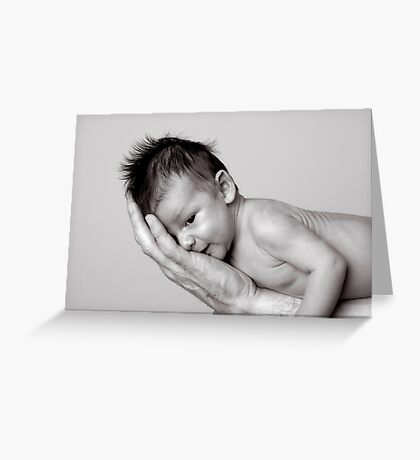 Healthy baby, hiding on fathers arm. Greeting Card
