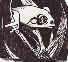 frog sketch for mezzotint by Anthony DiMichele