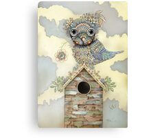 Blue Owl Birdhouse I Canvas Print