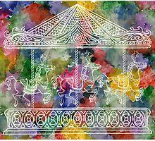 Rainbow Carousel Photographic Print