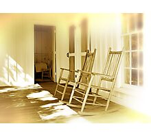 A Pair of Rocking Chairs on an Old Wooden Verandah Photographic Print