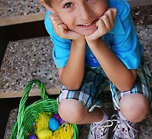 Sitting with easter eggs by Katherine Reinig