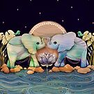 Lotus Flower Elephants of the Rainbow by © Karin Taylor