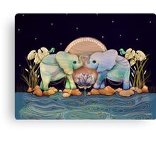 Lotus Flower Elephants of the Rainbow Canvas Print