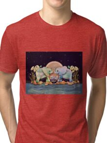 Lotus Flower Elephants of the Rainbow Tri-blend T-Shirt