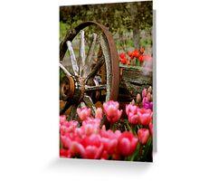 Wagon Wheels and Tulips Greeting Card