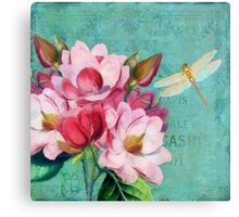Verdigris, Pink Magnolias dragonfly vintage lettering typography Canvas Print