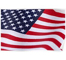 American Flag with canvas texture Poster