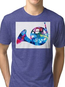 Colorful French Horn 2 - Cool Colors Abstract Art Sharon Cummings Tri-blend T-Shirt