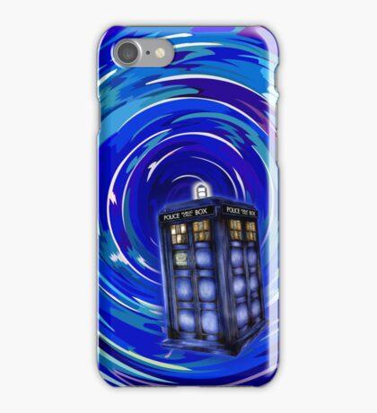 Blue Phone Box with Swirls iPhone Case/Skin
