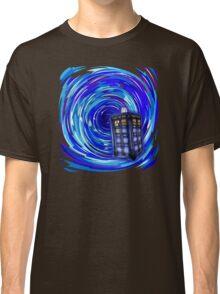Blue Phone Box with Swirls Classic T-Shirt