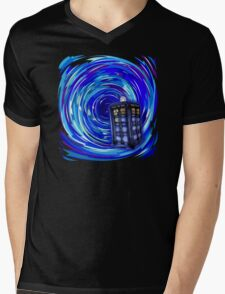 Blue Phone Box with Swirls Mens V-Neck T-Shirt