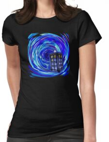 Blue Phone Box with Swirls Womens Fitted T-Shirt