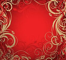 Red floral background by Olga Altunina