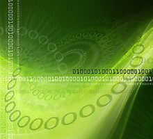 Modern green background with abstract smooth lines and numbers by Olga Altunina