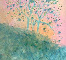 Trees Blooming (acrylic) by Helene Henderson