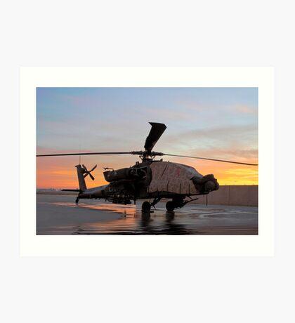 AH-64D Apache Longbow at Dawn, Joint Base Balad, Iraq Art Print