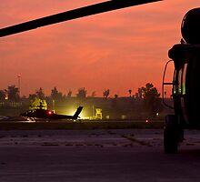 AH64D Longbow Apache Framed by Medevac UH60 by Dan McGurk