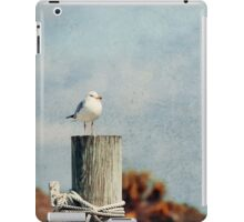 Vintage seagull on wooden post iPad Case/Skin