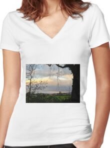 Twilight, County Wicklow Women's Fitted V-Neck T-Shirt