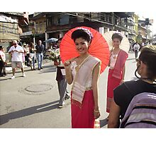 Thai Girl with Red Umbrella in Floral Float Parade. Photographic Print