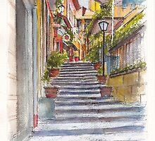 Bellagio Street Aquarelle by Dai Wynn
