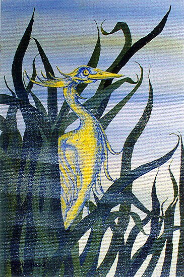 Heron in Reeds I by sharpie
