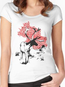 Reindeer drawing Women's Fitted Scoop T-Shirt
