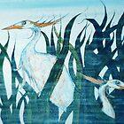 Herons in Reeds II by sharpie