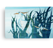 Herons in Reeds II Canvas Print