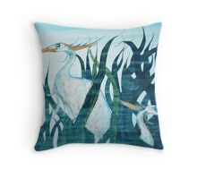 Herons in Reeds II Throw Pillow